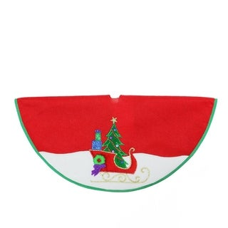 """20"""" Red and White Mini Christmas Tree Skirt with Embroidered Sleigh and Tree Applique"""