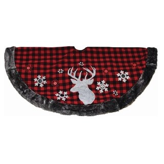 "48"" Alpine Chic Red and Black Checkered Reindeer Button Snowflakes Christmas Tree Skirt"