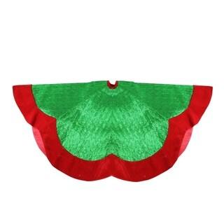 """60"""" Green Metallic Pleated Red Velvet Trimmed Scalloped Edge Christmas Tree Skirt"""