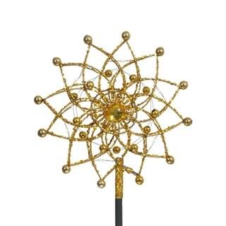 """9"""" Lighted Gold Glitter Starburst Christmas Tree Topper - Candlelight LED Lights"""