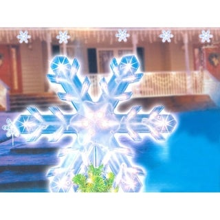 "15"" Clear Lighted Twinkling Christmas Snowflake Tree Topper or Pathway Marker"