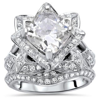 Noori 2 ct Cushion Moissanite Center 1ct Diamond Engagement Ring Set