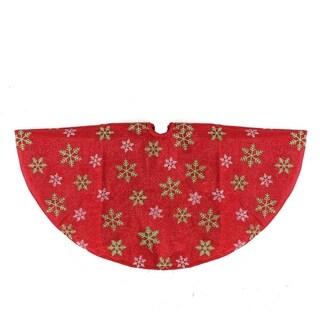 "20"" Decorative Red Metallic Green and Red Snowflake Mini Christmas Tree Skirt"