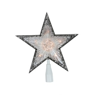 """10"""" Lighted Clear with Silver Trim Star Christmas Tree Topper - Clear Lights"""