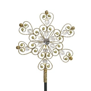 "9"" LED Lighted Gold Glitter Snowflake Christmas Tree Topper - Warm Clear Lights"