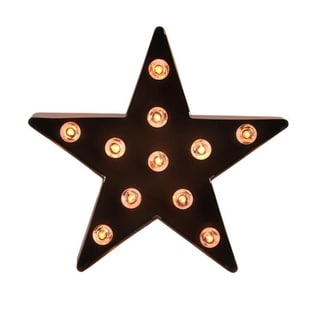 """9"""" Lighted Brown 5-Point Metal Star Decorative Christmas Tree Topper - Clear Lights"""
