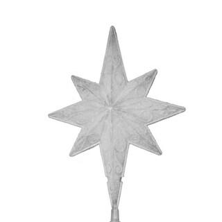 """11"""" LED Lighted Frosted White Bethlehem Star Christmas Tree Topper - Warm White Lights"""