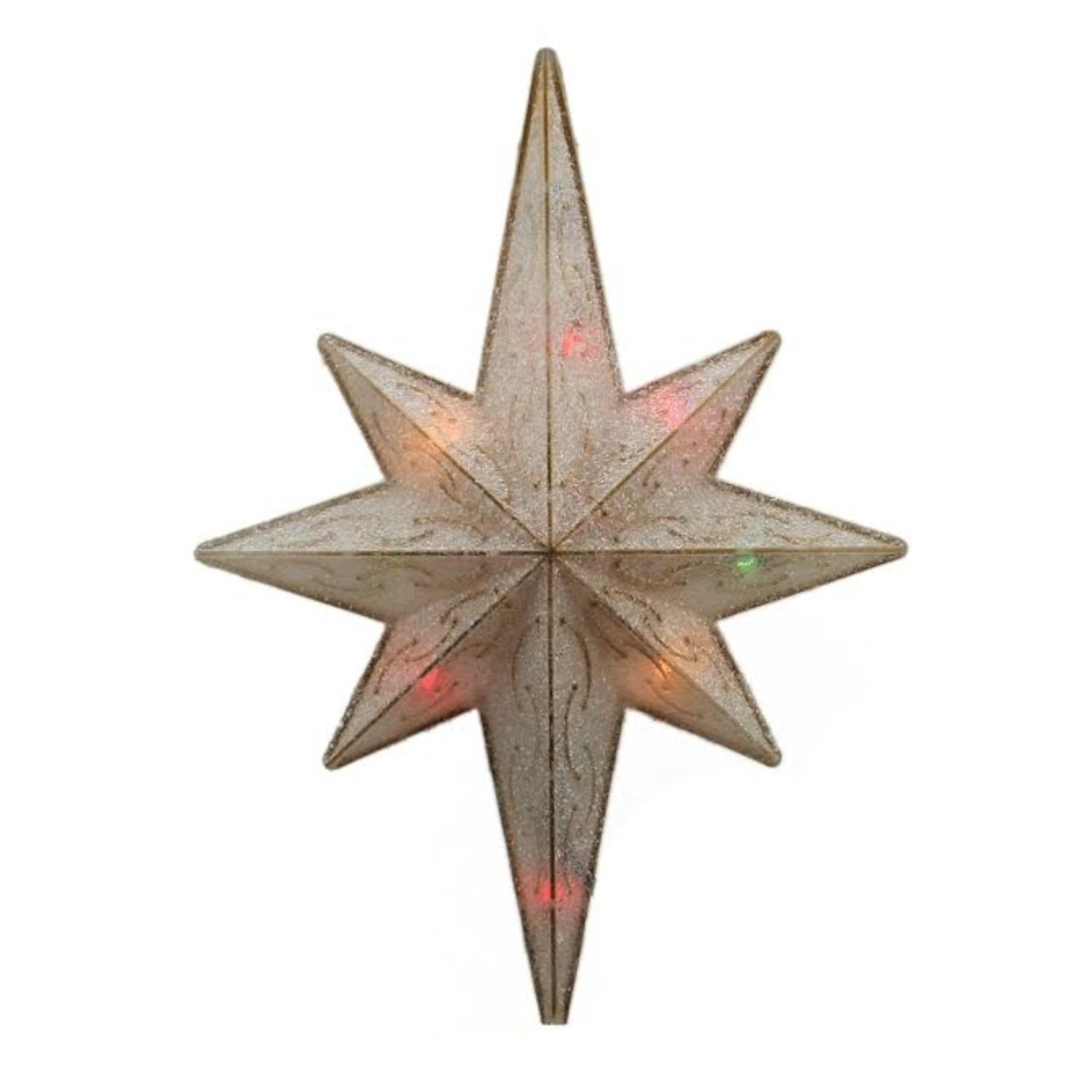 "Sienna 11"" Lighted Frosted Gold Bethlehem Star Christmas ..."