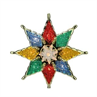 """7.75"""" Lighted Multi-Color Mosiac Style Star Christmas Tree Topper - Clear Lights"""