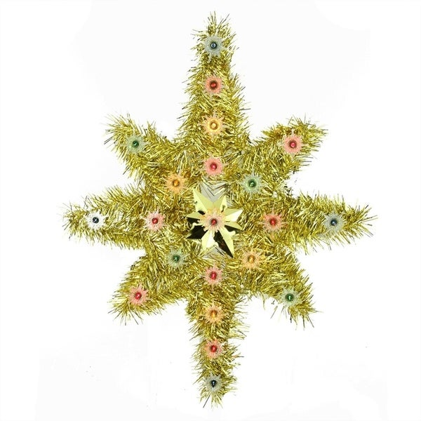 21 oversized lighted gold tinsel star of bethlehem christmas tree topper multi color - Christmas Tree Tinsel