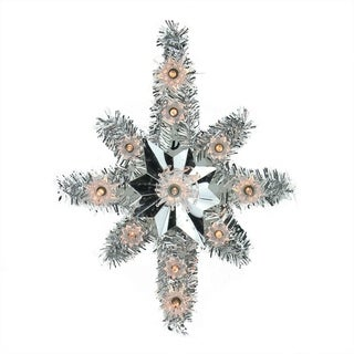 """11"""" Lighted Silver Tinsel Star of Bethlehem Christmas Tree Topper - Clear Lights"""