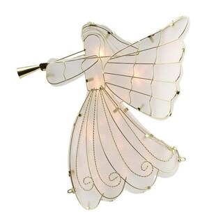 """10.5"""" Lighted Gold Scroll Angel with Trumpet Christmas Tree Topper - Clear Lights"""