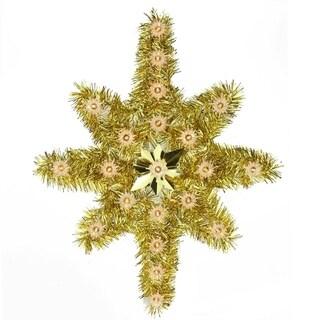 "21"" Oversized Lighted Gold Tinsel Star of Bethlehem Christmas Tree Topper - Clear Lights"