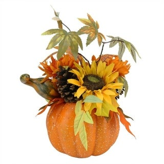 """10"""" Autumn Harvest Artificial Pumpkin with Sunflowers Mums and Pine Cones Decoration"""