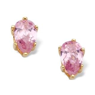 1.62 TCW Pear Cut Pink Cubic Zirconia Stud Earrings in Yellow Gold Tone Color Fun