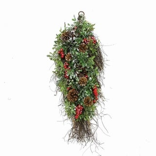 """28"""" Glittered Artificial Boxwood Pine Cone and Red Berry Christmas Teardrop Swag- Unlit"""