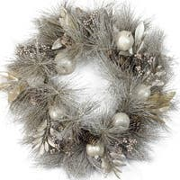 """24"""" Glitter Champagne Gold Pomegranate  Apple  Pine Cone and Berry Christmas Wreath - Unlit"""