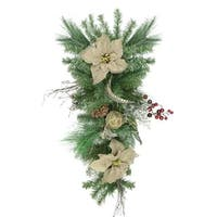 "28"" Autumn Harvest Burlap Poinsettia  Moss Ball  Mixed Pine and Berries Fall Teardrop Swag - Unlit"