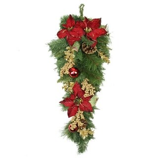 """28"""" Pine with Red Balls Poinsettias Gold Pine Cones and Berries Christmas Teardrop Swag - Unlit"""