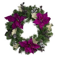 "24"" Two-Tone Pine with Purple Poinsettias  Silver Pine Cones and Berries Christmas Wreath - Unlit"