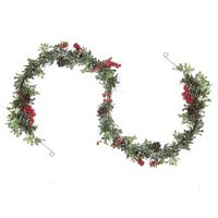 6' Glittered Artificial Boxwood  Pine Cone and Red Berry Christmas Garland- Unlit