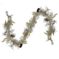 """6' x 12"""" Glitter Champagne Gold Pomegranate  Apple  Pine Cone and Berry Christmas Garland - Unlit"""