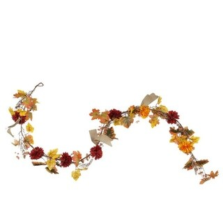 6' Autumn Harvest Red and Yellow Mixed Fall Leaf and Mum Flower Thanksgiving Garland - Unlit