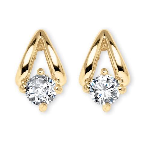 Gold Tone Stud Earrings (17x10mm) Round Cubic Zirconia (3/4 cttw TDW)