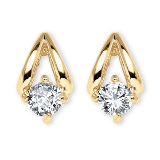 .80 TCW Round Cubic Zirconia Earrings in Yellow Gold Tone Classic CZ