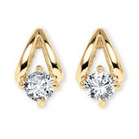 Gold Tone Stud Earrings (17x10mm) Round Cubic Zirconia (3/4 cttw TDW)