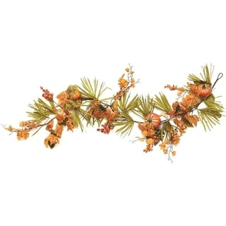 5' Autumn Harvest Decorative Artificial Pumpkins Berries Leaves and Grass Garland - Unlit