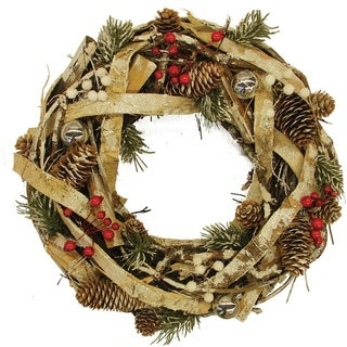 """13.5"""" Country Rustic Pine Cones and Berries Christmas Wreath Decoration"""