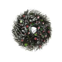 """10.25"""" Golden Frosted Twig Christmas Wreath with Leaves and Berries - Unlit"""