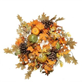 "24"" Autumn Harvest Decorative Artificial Fall Leaves Pinecones Pumpkins and Berries Wreath - Unlit"