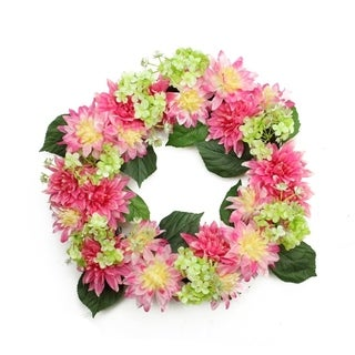 "22"" Decorative Pink and Green Artificial Floral Dahlia and Hydrangea Wreath - Unlit"