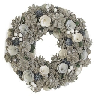 """13"""" Frost Inspired Pinecone Christmas Wreath with Blue and White Flowers"""