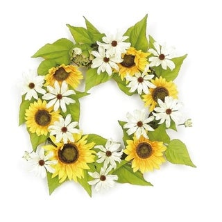 "22"" Decorative Yellow Sunflower and Cream White Daisy Artificial Floral Wreath - Unlit"