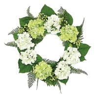 "24"" Decorative Cream White and Green Hydrangea and Berry Artificial Floral Wreath - Unlit"