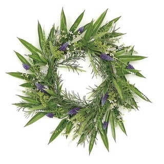 "24"" Decorative Purple Hyacinth and Yellow Fennel Seed Artificial Floral Wreath - Unlit"