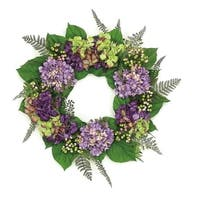 "24"" Decorative Purple and Green Hydrangea and Berry Artificial Floral Wreath - Unlit"