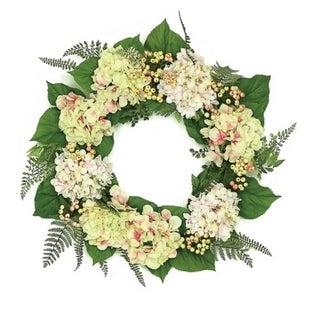 "24"" Decorative Pink Cream and Green Hydrangea and Berry Artificial Floral Wreath - Unlit"