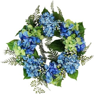 "24"" Decorative Blue and Green Hydrangea and Berry Artificial Floral Wreath - Unlit"