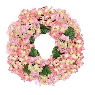 """22"""" Decorative Pink and Green Artificial Floral Hydrangea Wreath - Unlit"""