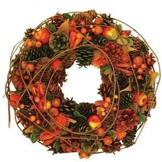 "13"" Autumn Harvest Apples Berries and Pinecones Wreath Decoration"