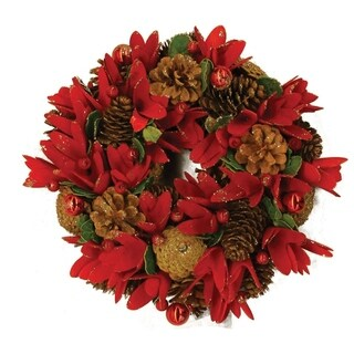 """13.5"""" Glittered Red Floral Artificial Christmas Wreath with Ornaments"""
