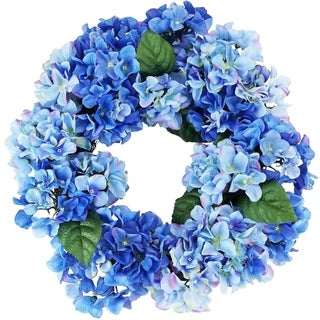 "22"" Decorative Blue and Green Artificial Floral Hydrangea Wreath - Unlit"
