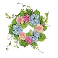 """20"""" Decorative Blue and Pink Rose and Hydrangea Artificial Floral Wreath - Unlit"""