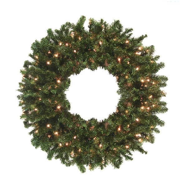 Commercial 10' Pre-Lit Canadian Pine Artificial Christmas Wreath - Clear Lights