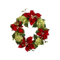 "24"" Glittered Poinsettia, Hydrangea & Holly Artificial Christmas Wreath - Unlit"