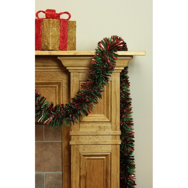 Shop 12' Soft and Sassy Red and Green Wide Cut Christmas Tinsel Garland - Unlit - Free Shipping On Orders Over $45 - Overstock - 16990424